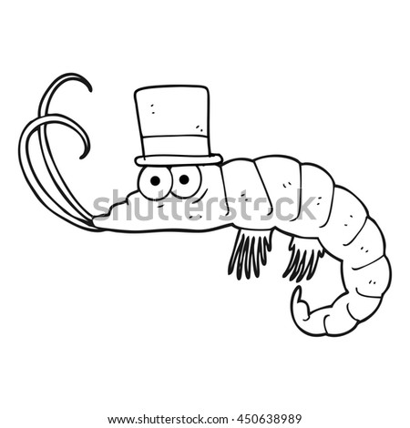 freehand drawn black and white cartoon shrimp - stock photo