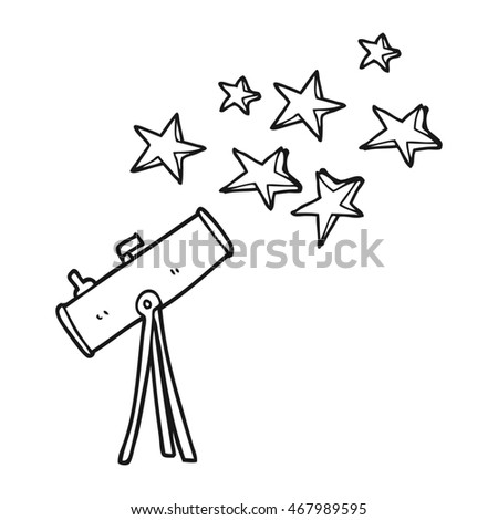 freehand drawn black and white cartoon telescope and stars
