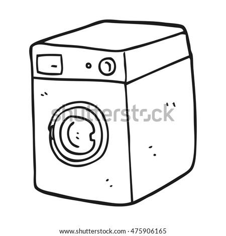 washing machine clipart black and white. freehand drawn black and white cartoon washing machine clipart