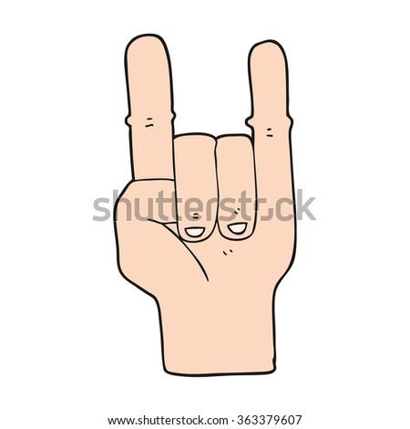 Freehand Drawn Cartoon Devil Horns Hand Stock Illustration 363379607