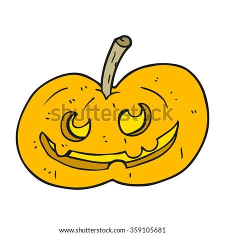 freehand drawn cartoon halloween pumpkin - stock photo