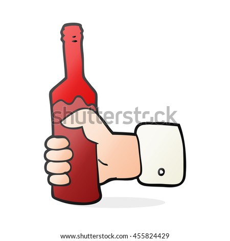 freehand drawn cartoon hand holding bottle of wine - stock photo