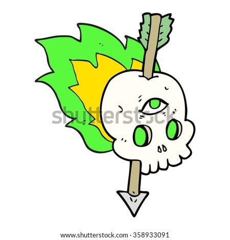 freehand drawn cartoon magic skull with arrow through brain - stock photo
