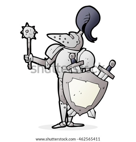 freehand drawn cartoon medieval knight with shield
