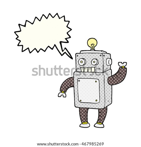 freehand drawn comic book speech bubble cartoon robot