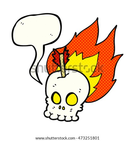 freehand drawn comic book speech bubble cartoon skull with arrow