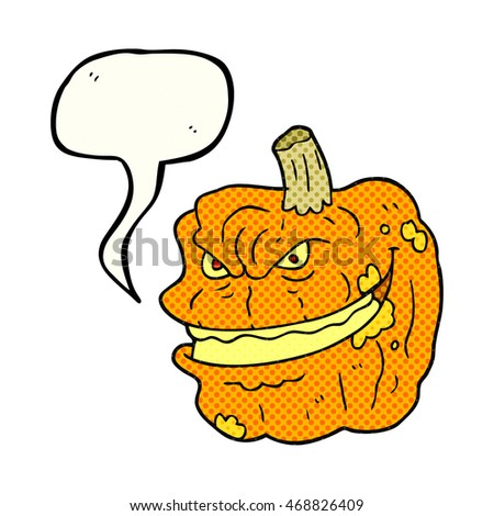 freehand drawn comic book speech bubble cartoon spooky pumpkin