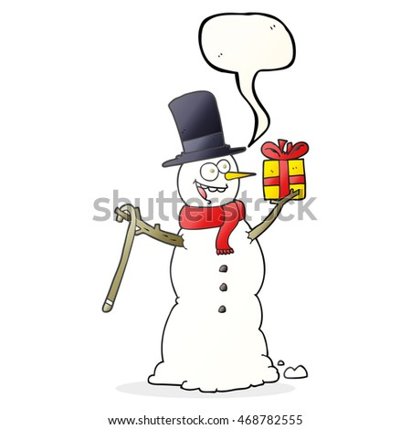 freehand drawn speech bubble cartoon snowman holding present