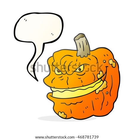 freehand drawn speech bubble cartoon spooky pumpkin
