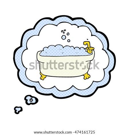 Freehand Drawn Thought Bubble Cartoon Bathtub Stock Vector