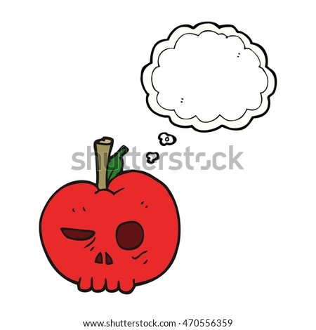 freehand drawn thought bubble cartoon poison apple