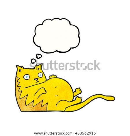 freehand drawn thought bubble textured cartoon fat cat - stock photo