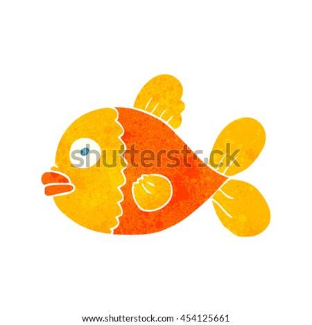 freehand retro cartoon fish - stock photo