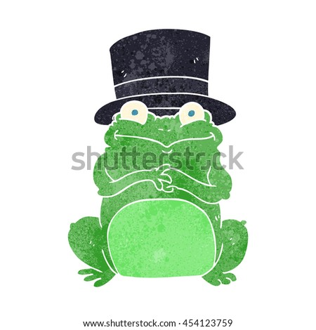 freehand retro cartoon frog in top hat - stock photo