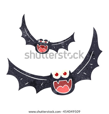 freehand retro cartoon halloween bats - stock photo
