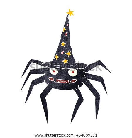 freehand retro cartoon halloween spider in witch hat - stock photo