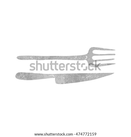 freehand retro cartoon knife and fork