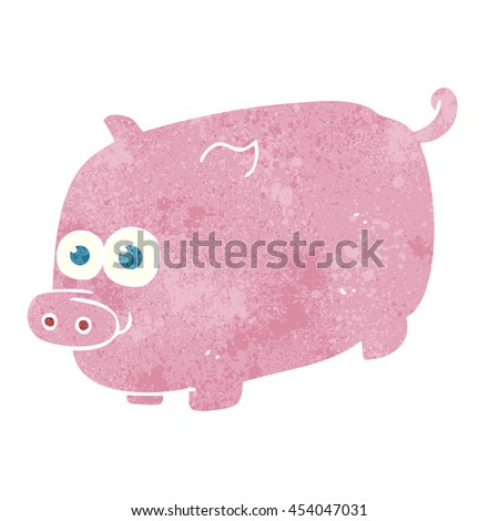 freehand retro cartoon pig