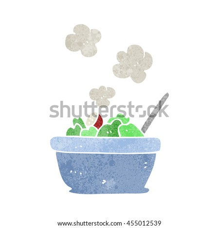 freehand retro cartoon salad - stock photo