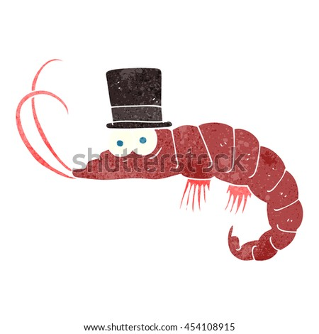 freehand retro cartoon shrimp - stock photo