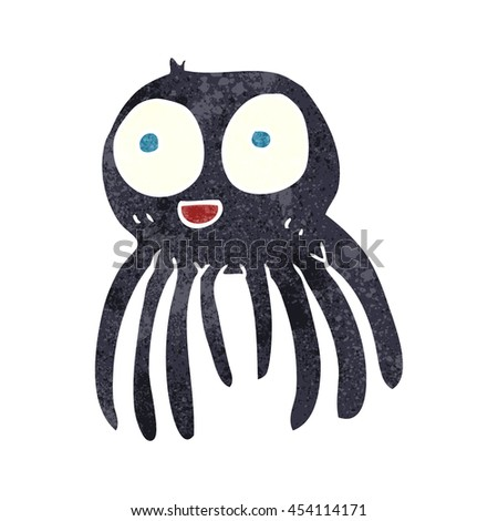 freehand retro cartoon spider - stock photo