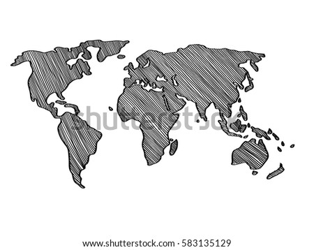 Vector world map honeycomb style vectores en stock 619075397 freehand simple drawn world map digital illustration painting design gumiabroncs Images