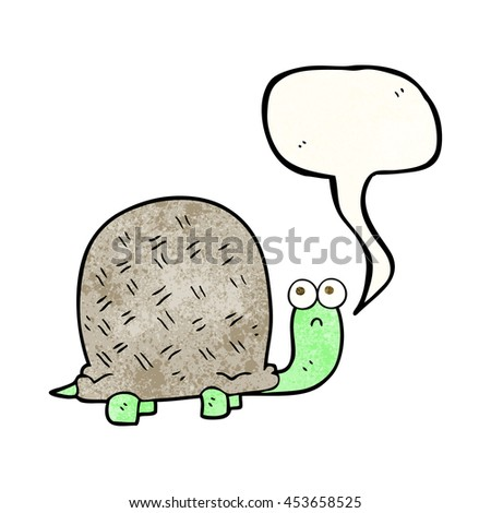freehand speech bubble textured cartoon sad turtle
