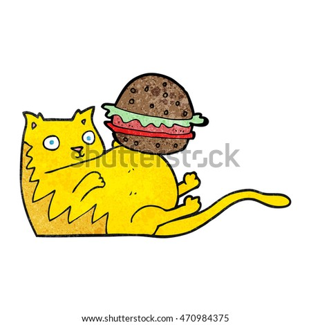 freehand textured cartoon fat cat with burger