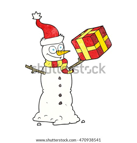 freehand textured cartoon snowman