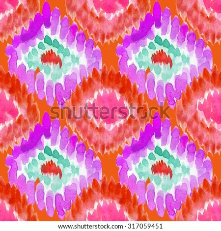 Freehand Watercolor Design. Geometric Design. Liquid ornament. Ornamental geometric doily pattern. Seamless monochrome aztec watercolor background. Tribal pattern. Hand painted. - stock photo