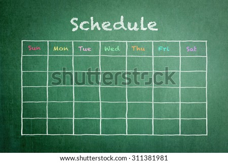 Freehand white chalk doodle sketch of blank monthly grid timetable schedule on green chalkboard background: Hand drawn study plan on blackboard with weekly date written in colorful pastel color
