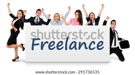 Freelance word writing on banner - stock photo