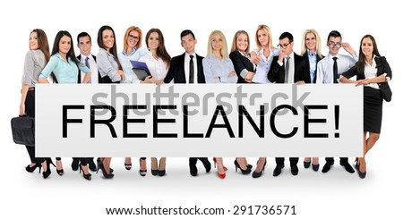 Freelance word writing on white banner