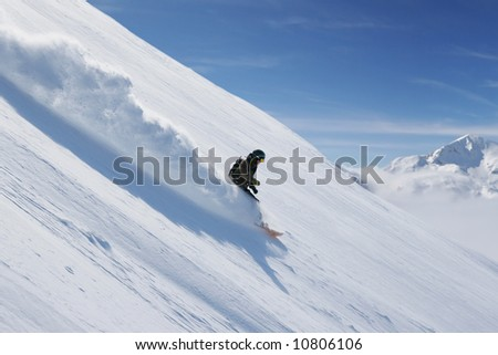 Freeride snowboarding at Vogel ski resort, Slovenia. - stock photo