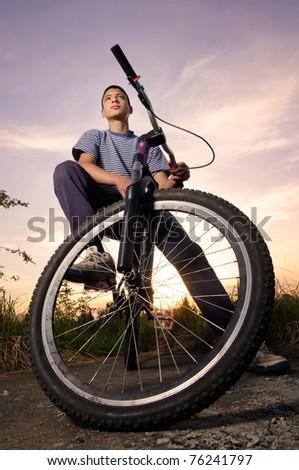 Freestyle biker - stock photo