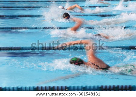 Freestyle swimmer. Motion blurred image - stock photo