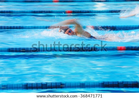 Freestyle swimmer motion blurred image - stock photo