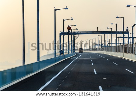 freeway and the morning mist, japan - stock photo