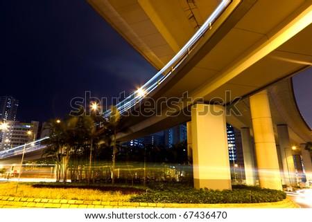 freeway at night - stock photo