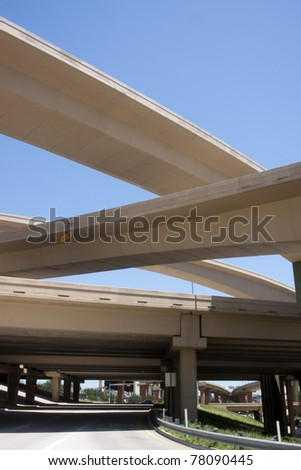 Freeway bridge interchange - stock photo