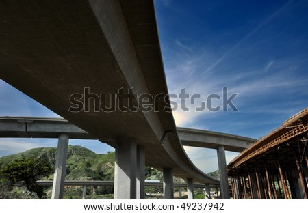 Freeway construction. - stock photo