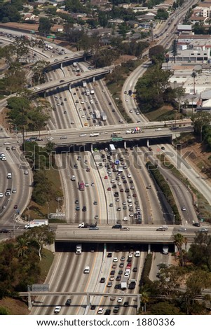 freeway curve aerial view - stock photo