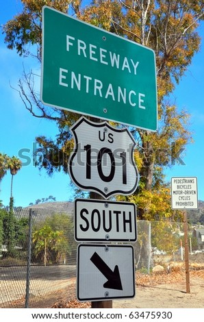 Freeway entrance sign for 101 freeway south - stock photo
