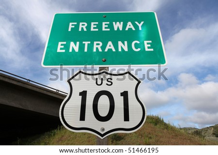 Freeway entrance sign,  US 101 between Los Angeles and San Francisco, CA. - stock photo