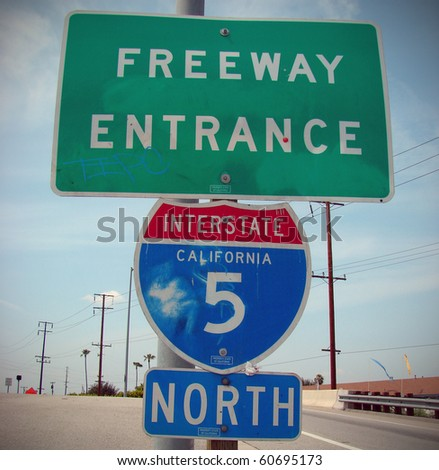 freeway entrance sign with california interstate 5 directions - stock photo