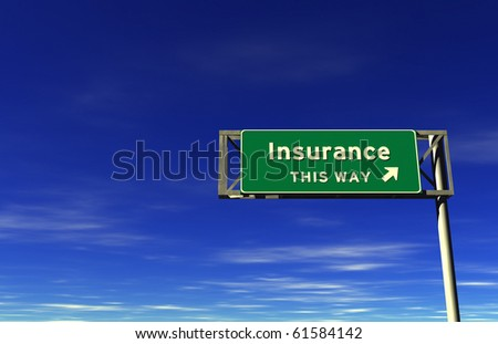 Freeway Exit Sign - Insurance - stock photo