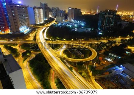 Freeway in night - stock photo