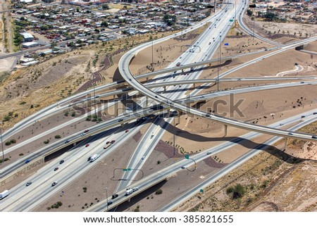 Freeway interchange in Tucson, Arizona called The Crossing includes Interstate 10 and Interstate 19 connections - stock photo
