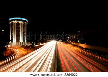 freeway lights - stock photo