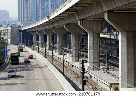 Freeway Overpasses and Train Tracks at day - stock photo
